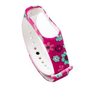 Ремешек для фитнес-браслета Xiaomi Mi Band 3 / 4 с рисунком – Цветы / Розовый