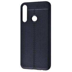 TPU чехол фактурный (с имитацией кожи) для Huawei Y6P – Черный