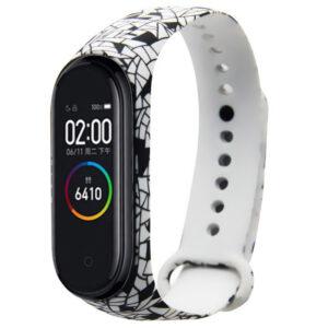 Ремешек для фитнес-браслета Xiaomi Mi Band 3 / 4 с рисунком – Мозаика / Черно-белый