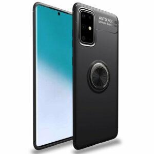 Cиликоновый чехол Deen ColorRing c креплением под магнитный держатель для Samsung Galaxy A51 – Черный