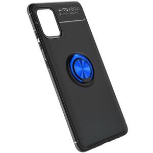 Cиликоновый чехол Deen ColorRing c креплением под магнитный держатель для Samsung Galaxy A41 – Черный / Синий