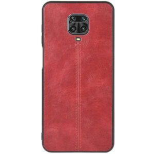 Кожаный чехол Line для Xiaomi Redmi Note 9s / Note 9 Pro / Note 9 Pro Max – Красный