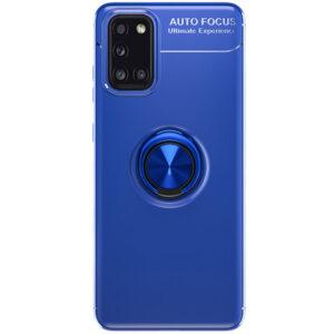 Cиликоновый чехол Deen ColorRing c креплением под магнитный держатель для Samsung Galaxy A31 – Синий