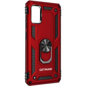 Ударопрочный чехол GETMAN Serge Ring под магнитный держатель с кольцом для Samsung Galaxy A31 – Красный