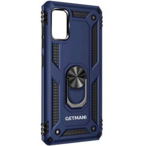 Ударопрочный чехол GETMAN Serge Ring под магнитный держатель с кольцом для Samsung Galaxy A31 – Темно-синий