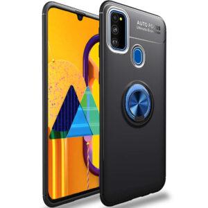 Cиликоновый чехол Deen ColorRing c креплением под магнитный держатель для Samsung Galaxy M30s / M21 – Черный / Синий