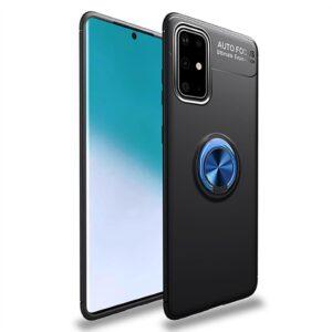 Cиликоновый чехол Deen ColorRing c креплением под магнитный держатель для Samsung Galaxy A51 – Черный / Синий