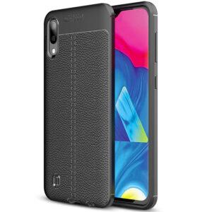 TPU чехол фактурный (с имитацией кожи) для Samsung Galaxy A01 – Черный