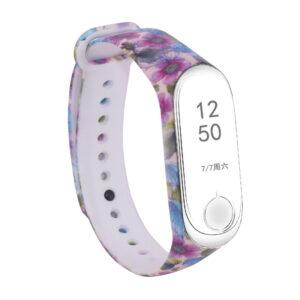 Ремешек для фитнес-браслета Xiaomi Mi Band 3 / 4 с рисунком – Фиолетовые цветы / Бежевый
