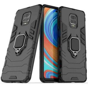 Ударопрочный чехол Transformer Ring под магнитный держатель для Xiaomi Redmi Note 9s / Note 9 Pro / Note 9 Pro Max – Черный / Soul Black