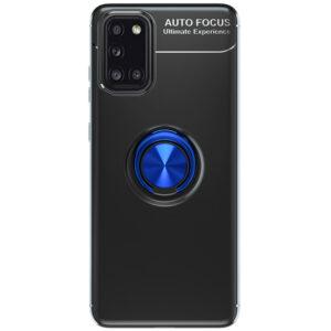 Cиликоновый чехол Deen ColorRing c креплением под магнитный держатель для Samsung Galaxy A31 – Черный / Синий