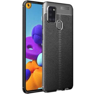 TPU чехол фактурный (с имитацией кожи) для Samsung Galaxy A21s – Черный