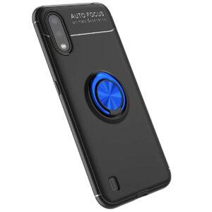 Cиликоновый чехол Deen ColorRing c креплением под магнитный держатель для Samsung Galaxy A01 – Черный / Синий