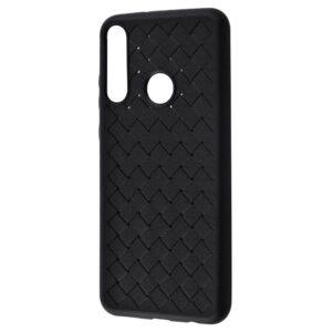 Силиконовый TPU чехол SKYQI плетеный под кожу для Huawei Y6P – Black