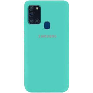 Оригинальный чехол Silicone Cover 360 (A) с микрофиброй для Samsung Galaxy A21s – Бирюзовый / Ocean Blue