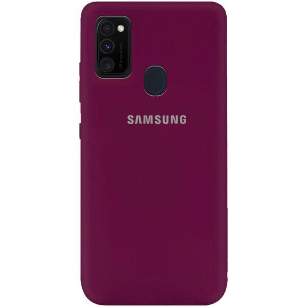 Оригинальный чехол Silicone Cover 360 (A) с микрофиброй для Samsung Galaxy M30s / M21 – Бордовый / Marsala