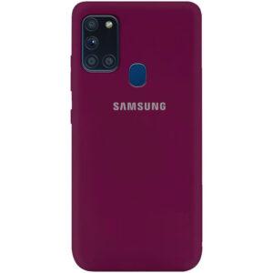 Оригинальный чехол Silicone Cover 360 (A) с микрофиброй для Samsung Galaxy A21s – Бордовый / Marsala
