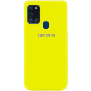 Оригинальный чехол Silicone Cover 360 (A) с микрофиброй для Samsung Galaxy A21s – Желтый / Flash