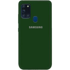 Оригинальный чехол Silicone Cover 360 (A) с микрофиброй для Samsung Galaxy A21s – Зеленый / Dark green