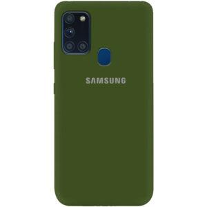 Оригинальный чехол Silicone Cover 360 (A) с микрофиброй для Samsung Galaxy A21s – Зеленый / Forest green