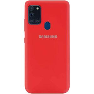 Оригинальный чехол Silicone Cover 360 (A) с микрофиброй для Samsung Galaxy A21s – Красный / Red