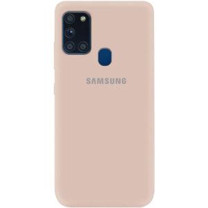 Оригинальный чехол Silicone Cover 360 (A) с микрофиброй для Samsung Galaxy A21s – Розовый / Pink Sand