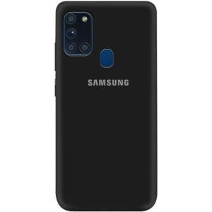 Оригинальный чехол Silicone Cover 360 (A) с микрофиброй для Samsung Galaxy A21s – Черный / Black