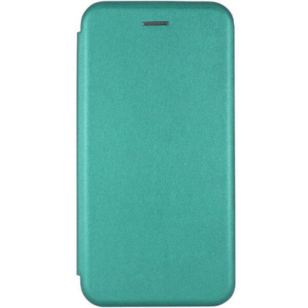 Кожаный чехол-книжка 360 с визитницей для Xiaomi Redmi 9 – Зеленый