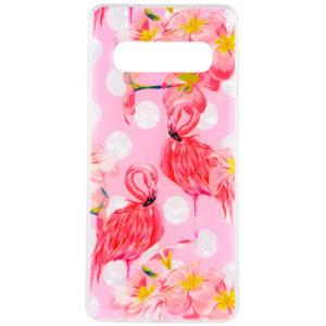 TPU чехол Glue Case Фламинго для Samsung Galaxy S10 Plus (G975) – Розовый