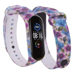 Ремешек для фитнес-браслета Xiaomi Mi Band 5 / 6 с рисунком – Фиолетовые цветы / Бежевый