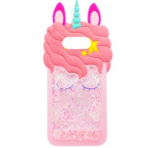 Силиконовый чехол 3D Единорог с блестками для Samsung Galaxy S10 Plus (G975) – Розовый