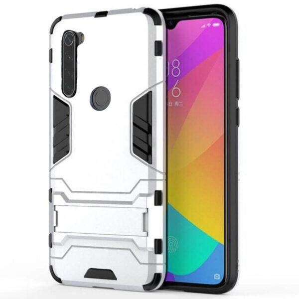 Ударопрочный чехол Transformer с подставкой для Xiaomi Redmi Note 8 – Серебряный / Satin Silver