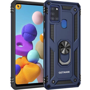 Ударопрочный чехол GETMAN Serge Ring под магнитный держатель с кольцом для Samsung Galaxy A21s – Темно-синий