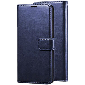 Кожаный чехол-книжка Wallet Glossy с визитницей для Samsung Galaxy A40 2019 (A405) – Темно-синий