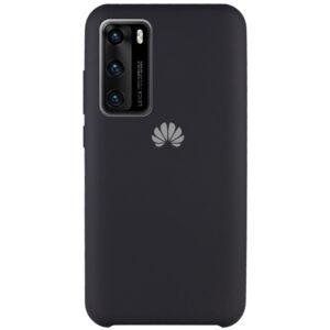 Оригинальный чехол Silicone Case с микрофиброй для Huawei P40 – Черный / Black