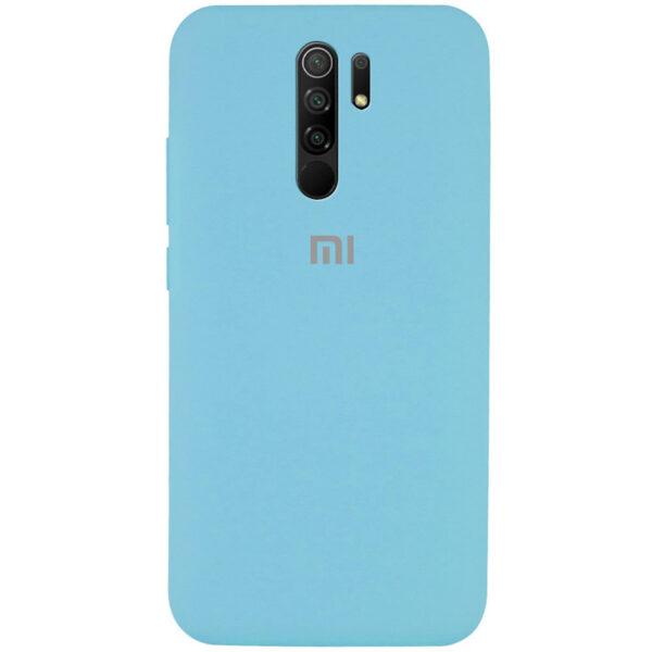 Оригинальный чехол Silicone Cover 360 с микрофиброй для Xiaomi Redmi 9 – Голубой / Light Blue