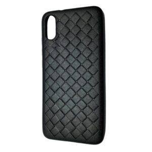 Силиконовый TPU чехол SKYQI плетеный под кожу для Xiaomi Redmi 9A – Black