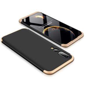 Матовый пластиковый чехол GKK 360 градусов для Huawei P20 Pro – Черный / Золотой