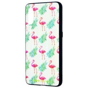 TPU+Glass чехол Monaco Case с рисунком для Xiaomi Mi 9 – Фламинго листья