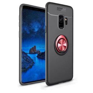 Cиликоновый чехол Deen ColorRing c креплением под магнитный держатель для Samsung Galaxy S9 Plus (G965) – Черный / Красный
