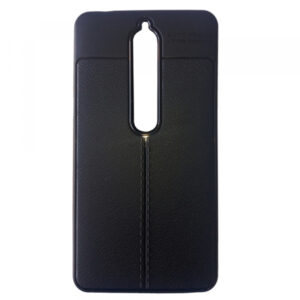 TPU чехол фактурный (с имитацией кожи) для Nokia 6.1 / 6 – Black