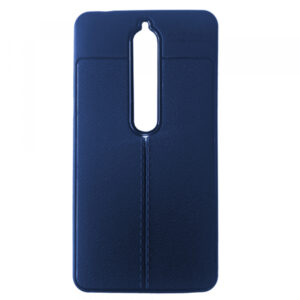TPU чехол фактурный (с имитацией кожи) для Nokia 6.1 / 6 – Blue