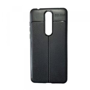TPU чехол фактурный (с имитацией кожи) для Nokia 5.1 Plus / Nokia X5 – Black