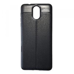 TPU чехол фактурный (с имитацией кожи) для Nokia 3.1 – Black