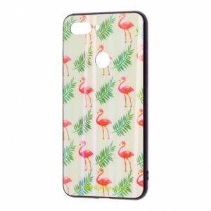 TPU+Glass чехол Monaco Case с рисунком для Xiaomi Mi 8 Lite / Mi 8 Youth – Фламинго и листья