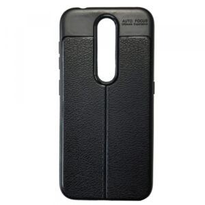 TPU чехол фактурный (с имитацией кожи) для Nokia 4.2 – Black