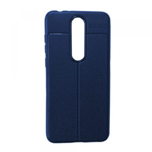 TPU чехол фактурный (с имитацией кожи) для Nokia 5.1 Plus / Nokia X5 – Blue