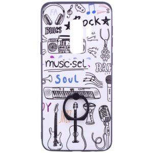 Тематический чехол с кольцом и принтом для Samsung Galaxy S9 Plus (G965) – Белый музыка