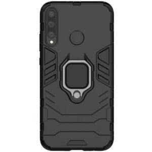 Ударопрочный чехол Transformer Ring под магнитный держатель для Huawei P40 Lite E / Y7P (2020) – Черный / Soul Black