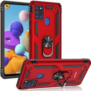 Ударопрочный чехол GETMAN Serge Ring под магнитный держатель с кольцом для Samsung Galaxy A21s – Красный